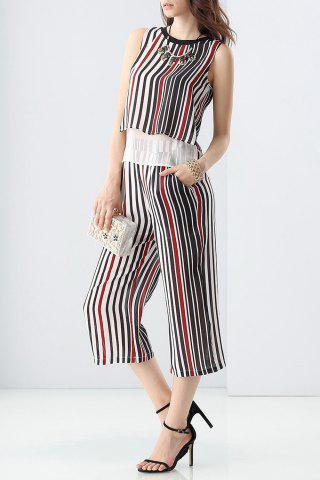 Shop Layered Striped Tank Top and Wide Leg Pants Twinset