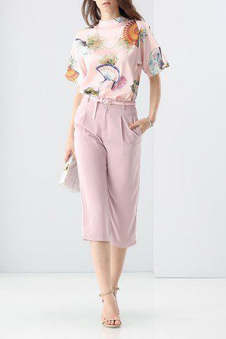 Affordable Loose Printed T-Shirt and Solid Color Pants Twinset