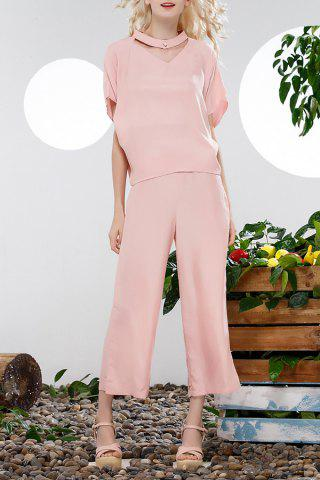 Cheap Loose Blouse and Solid Color Wide Leg Pants Suit