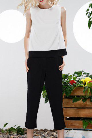 Affordable Bowknot Hit Color Tank Top and Wide Leg Pants Suit