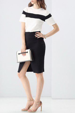 Trendy Knitting Hit Color T-Shirt and Sheath Black Skirt Suit