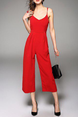 Store Spaghetti Straps Solid Color Jumpsuit RED L