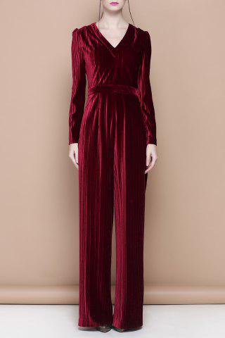 Unique V Neck Velour Solid Color Jumpsuit