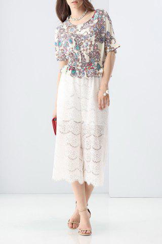 Outfits Lace Spliced Abstract Print Jumpsuit