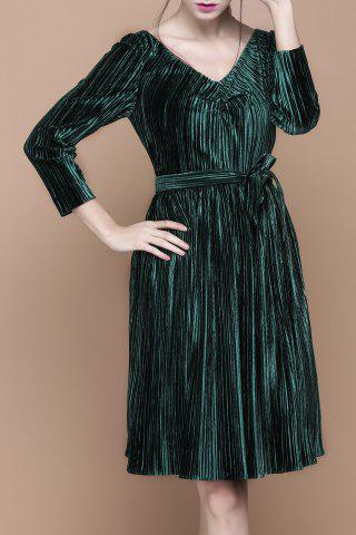 Outfits V Neck Velour Pleated Long Sleeve Dress