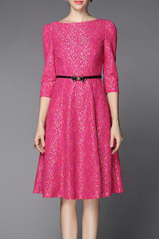Store 3/4 Sleeve Belted Dress