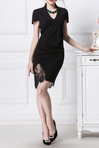Buy Lace Spliced Ruched Bodycon Dress