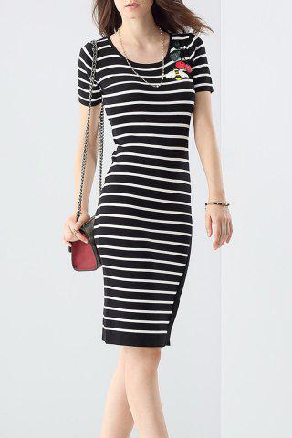 Buy Sheath Irregular Hem Striped Dress