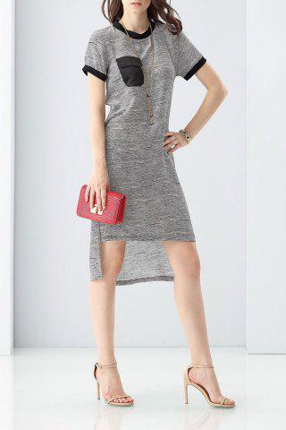 Cheap Color Block High-Low Dress