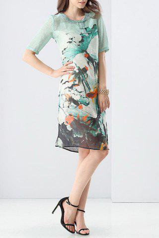 Affordable Vintage Ink Print Dress