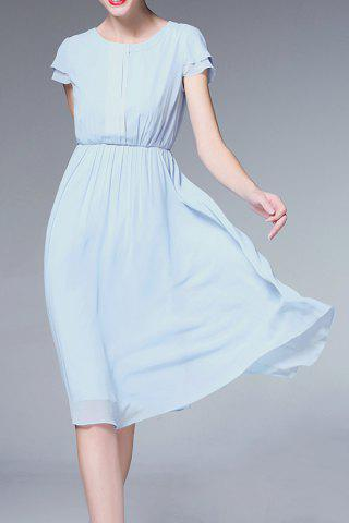 Fancy Solid Color Ruched Defined Dress