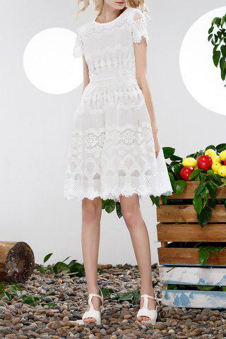 Sale Hollow Out Lace Spliced Dress