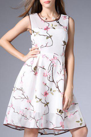 Hot Mesh A Line Flower Embroidered Dress