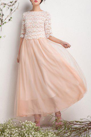 Chic Lace Spliced Pleated Maxi Tulle Dress