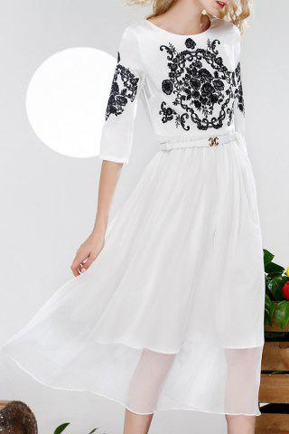 Shop Belted Floral Embroidery Dress