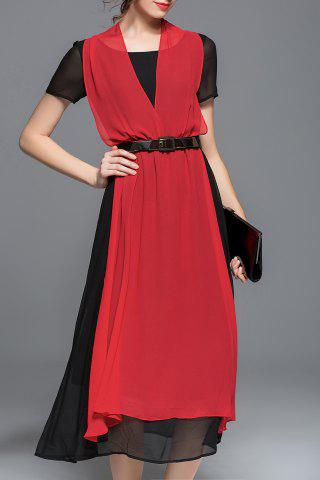 Latest Color Block Belted Chiffon Dress