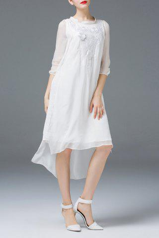 Fashion Flower Embroidery High Low Dress