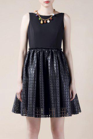 Fancy Hollow Out PU Leather Splicing Mini Dress