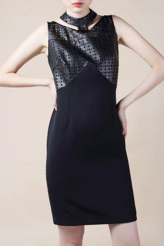Outfit Hollow Out PU Leather Splicing Bodycon Dress