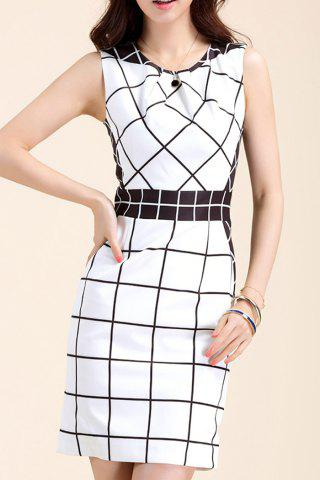 Affordable Sleeveless Plaid Sheath Dress