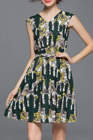 Cheap V Neck Cactus Print Sleeveless Dress
