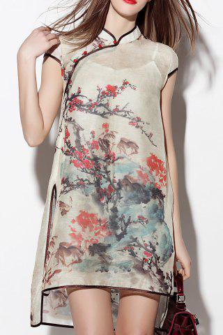 Outfits Slit Floral See Thru Dress