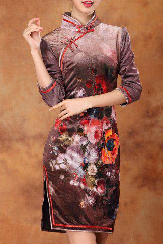 Chic Floral Slit Sheath Qipao