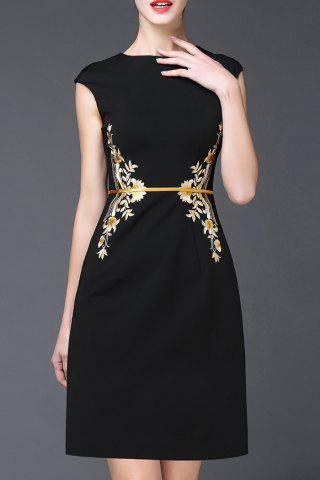 Outfit Cap Sleeve Embroidery Sheath Dress