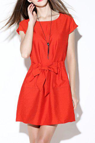 Hot Solid Color Tie Front Dress