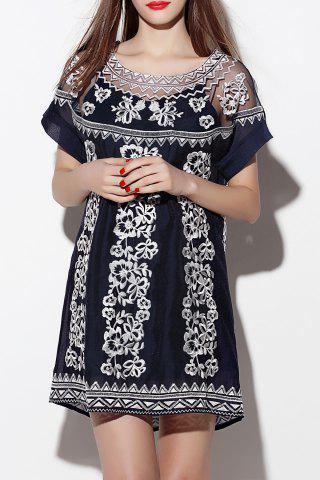 Fashion Short Embroidered Sheer Dress