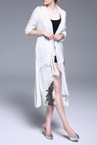 Outfits Printed Shawl Collar Duster Coat