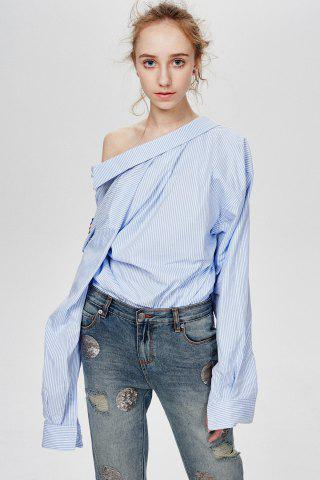 Sale Embroidered Oversized Stripe Shirt