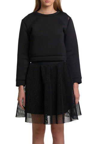Sale Black Mesh Spliced Cropped Sweatshirt