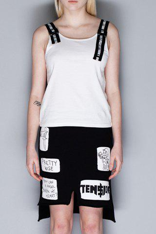 Outfit Straps Spliced Letter Print Tank Top
