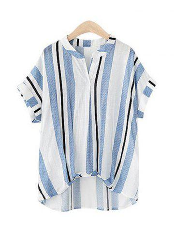 Fancy Pure and Plain Striped Asymmetrical Blouse LIGHT BLUE XL