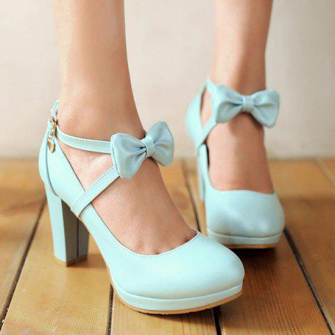 Shop Elegant Bow and Chunky Heel Design Pumps For Women - 37 LIGHT BLUE Mobile