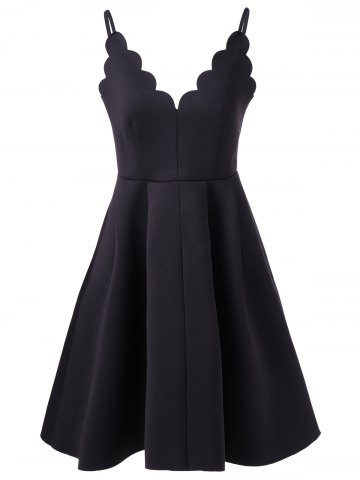 Hot Scalloped A Line Flare Cocktail Slip Dress - L BLACK Mobile