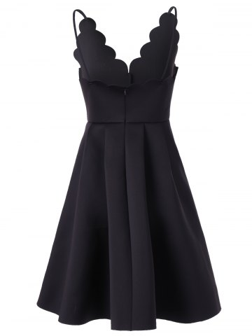 Outfits Scalloped A Line Flare Cocktail Slip Dress - S BLACK Mobile
