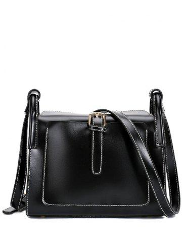 Latest Vintage Stitching and Buckle Design Crossbody Bag For Women - BLACK  Mobile