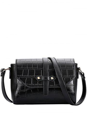 Sale Trendy Crocodile Pattern and PU Leather Design Crossbody Bag For Women - BLACK  Mobile