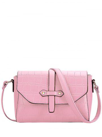 Trendy Crocodile Pattern and PU Leather Design Crossbody Bag For Women - Pink - 40