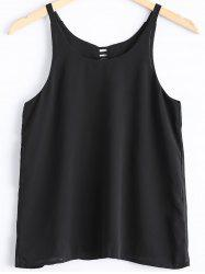Cutout Back Scoop Chiffon Tank Top