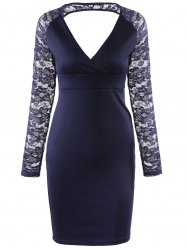 Elegant V-Neck Lace Sleeve Hollow Out Bodycon Dress For Women