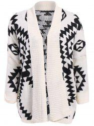 Stylish Loose-Fitting Roman Geometric Pattern Batwing Sleeve Knitting Women's Sweater - WHITE AND BLACK
