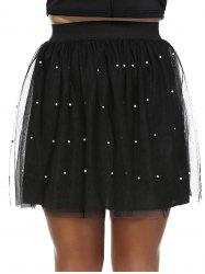 Fashionable Plus Size Beaded Pleated Women's Skirt