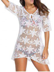 Crochet Embroidery See-Through Swimsuit Cover-Up - WHITE L
