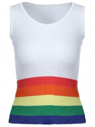 Fashionable  Scoop Neck Rainbow Tank Top For Women