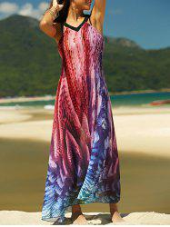 V-Neck Backless Printed Summer Chiffon Maxi Dress