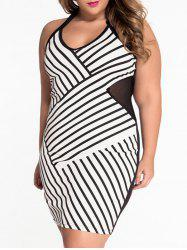 Plus Size Halter Stripe Sheer Sheath Dress