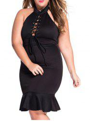 Plus Size Lace Up Mermaid Prom Dress